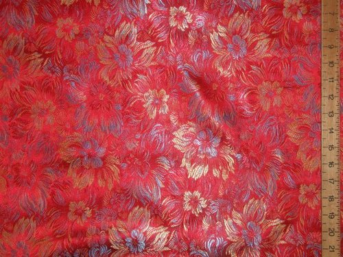 "Rich Brocade Fabric - Red (70"" wide)"