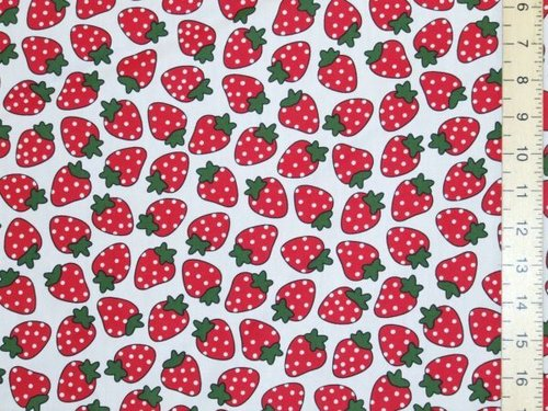 Large Strawberry Print Pure Cotton - White