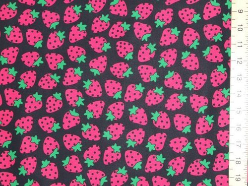 Large Strawberry Print Pure Cotton - Black
