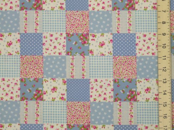 Pretty Patch Work Design Pure Cotton - Blue