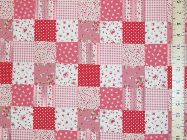 Pretty Patch Work Design Pure Cotton - Red