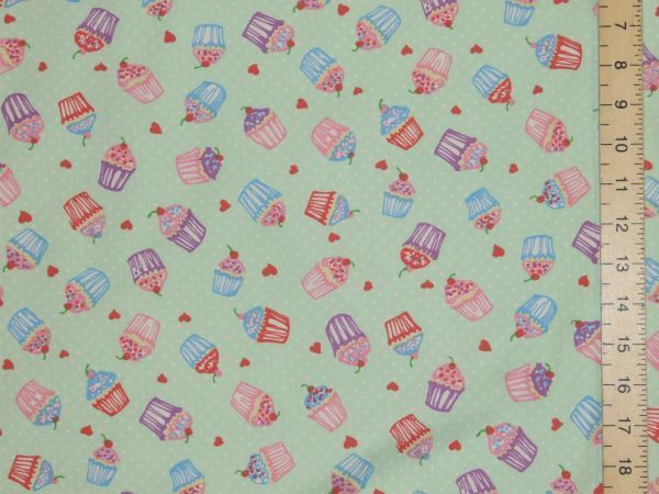 Cupcakes Printed Pure Cotton - Mint