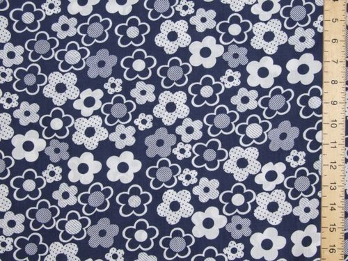 Floral Printed Polycotton (navy)