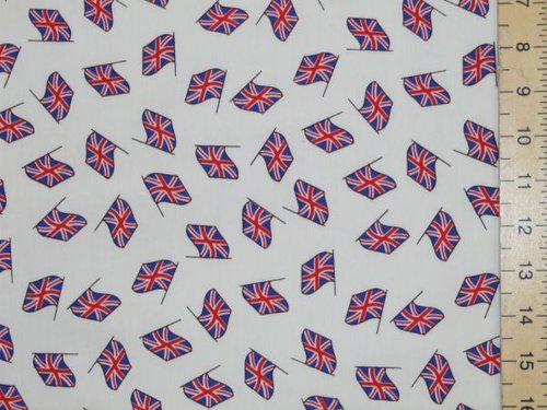 Union Jack Flag Print Pure Cotton (white)