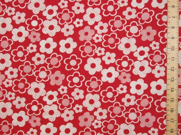 Floral Printed Polycotton (red)