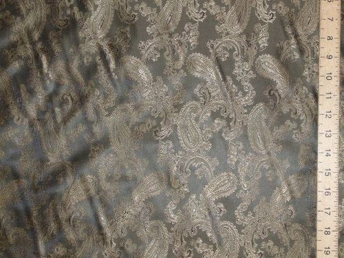 Paisley Printed Satin Jacquard (Grey & Gold)