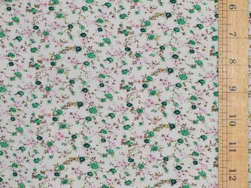 Small Floral Printed Polycotton (Green)