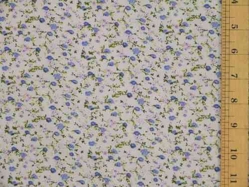 Small Floral Printed Polycotton (Hyacinth)