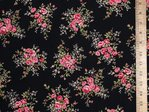 Printed Pure Cotton Fabric (Rose on Black)