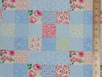 Printed Patch Work Pure Cotton Fabric - Sky
