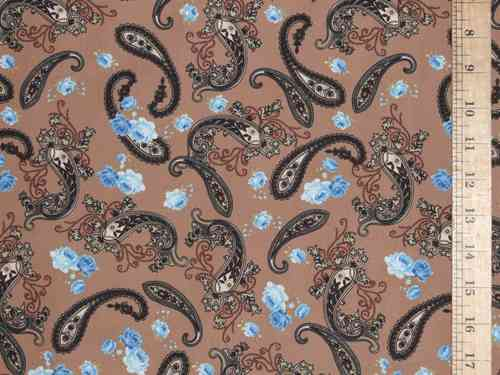 Printed Pure Cotton Fabric - Paisley (Light Brown)