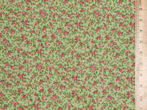 Printed Polycotton Fabric - Lime Floral