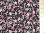 Printed Pure Cotton Fabric Black Floral