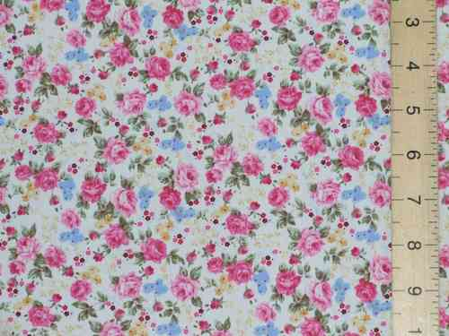 Printed Pure Cotton Fabric Ivory Floral