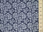 Pretty Floral Print Pure Cotton Fabric (navy)