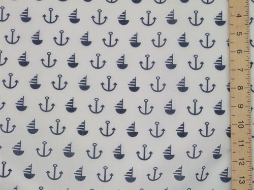 Anchor & Sail Boat Printed Polycotton Fabric (white)