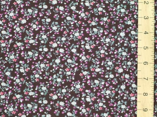 Printed Polycotton Fabric (Dark brown)