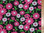 Large Daisey Printed Polycotton Fabric (Black)