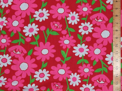 Large Daisey Printed Polycotton Fabric (Red)