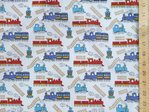 Trains Printed Polycotton Fabric