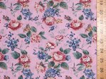 Large Rose Printed Polycotton Fabric (Pink)