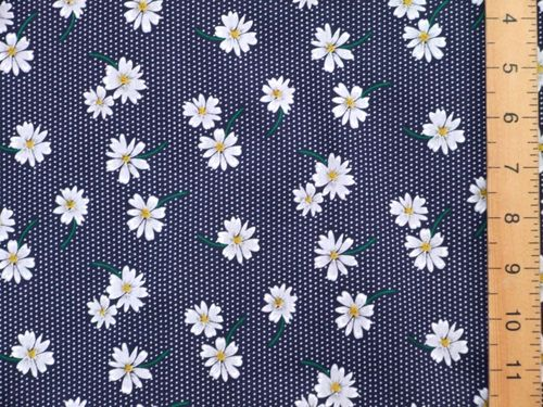 100% Cotton Prints - Small Daisey (Navy)