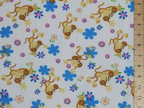 Monkeys Printed Polycotton Fabric (White)