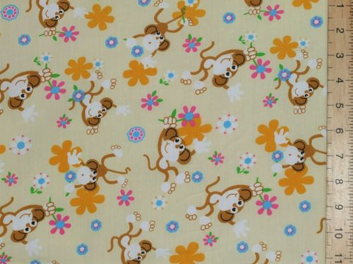 Monkeys Printed Polycotton Fabric (Cream)