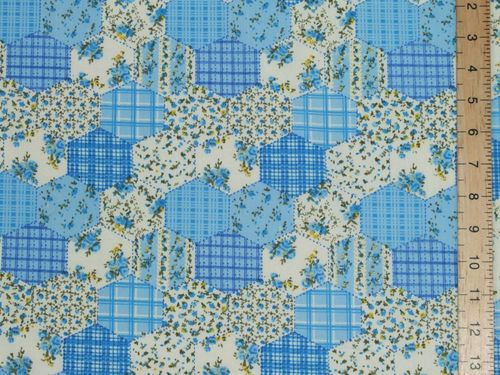 Hexagonal Patchwork Printed Polycotton Fabric (Blue)
