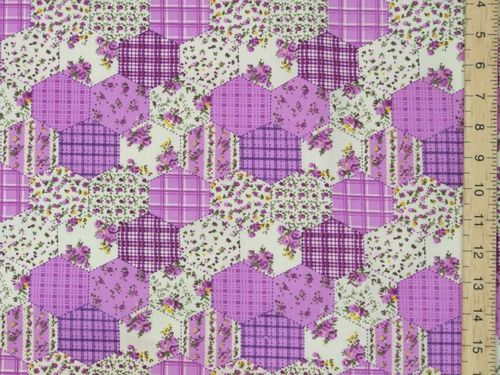 Hexagonal Patchwork Printed Polycotton Fabric (Lilac)