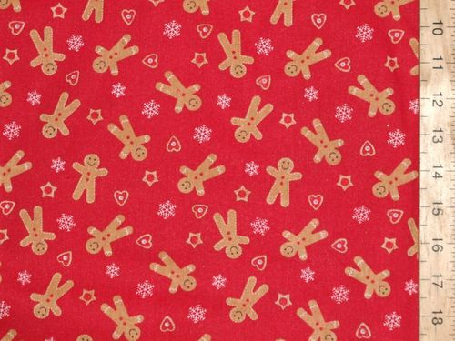 Gingerbread Xmas Print Polycotton Fabric (Red)