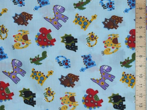Dragons Printed Polycotton Fabric - Sky Blue