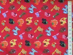 Dragons Printed Polycotton Fabric - Red