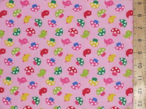 Nursery Print Polycotton Fabric - Pink