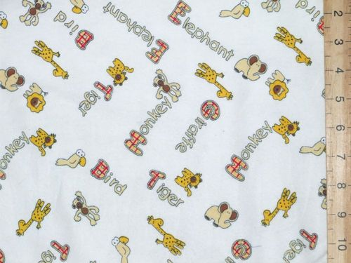 "Printed Brushed Cotton - Winceytte 58"" wide (White)"