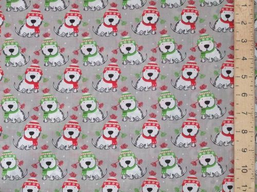 Xmas Puppies Polycotton Fabric (Grey)