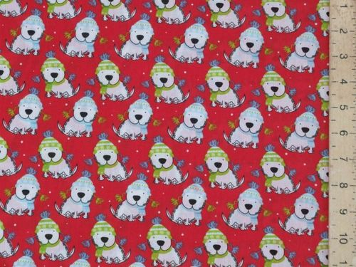 Xmas Puppies Polycotton Fabric (Red)