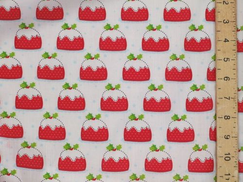 Xmas Pudding Polycotton Fabric (White)