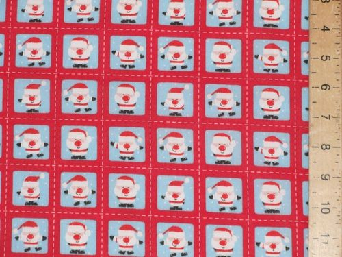 Mini Santa Xmas Printed Polycotton Fabric (Red)