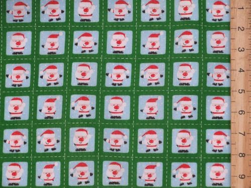 Mini Santa Xmas Printed Polycotton Fabric (Green)