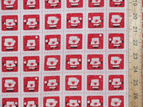 Mini Santa Xmas Printed Polycotton Fabric (White)