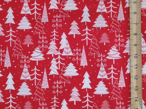 Xmas Trees Printed Polycotton Fabric (Red)