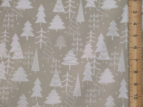 Xmas Trees Printed Polycotton Fabric (Grey)