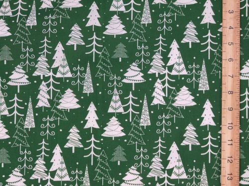 Xmas Trees Printed Polycotton Fabric (Green)