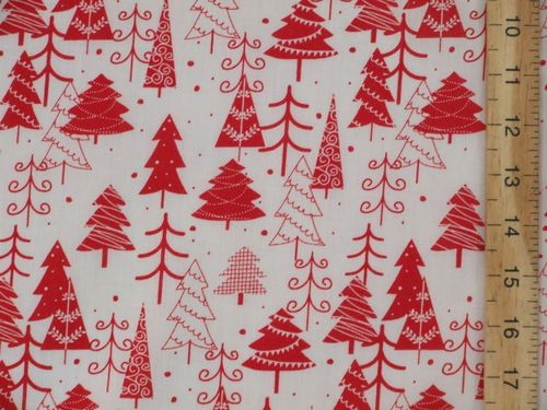 Xmas Trees Printed Polycotton Fabric (W&R)