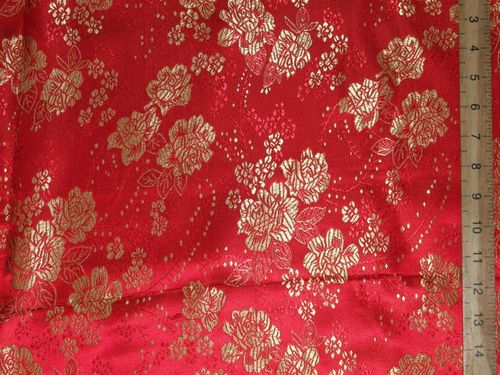 Rich Brocade Fabric - Floral Design (Red)