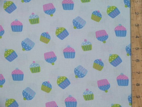Cupcakes Print Pure Cotton Fabric - Sky Blue
