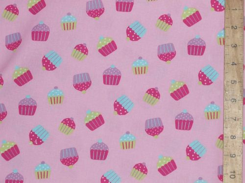Cupcakes Print Pure Cotton Fabric - Pink