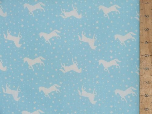 Printed Polycotton - Unicorns (Sky Blue)
