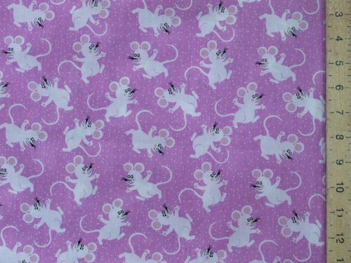 Printed Polycotton - Mice (Violet)